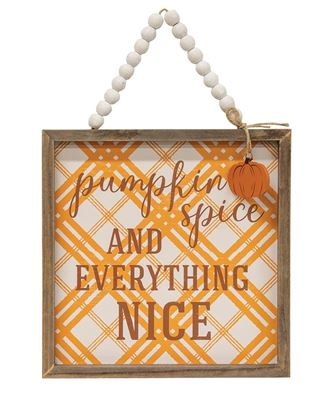 Picture of Plaid Pumpkin Spice Beaded Sign