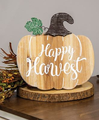 Picture of Happy Harvest Engraved Wooden Pumpkin Sign w/Easel Back