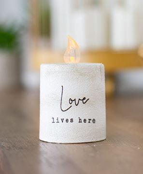 Picture of Love Lives Here White Cement Timer Pillar