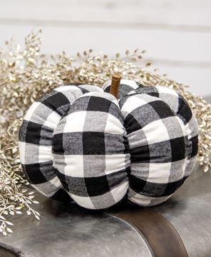 "Picture of Black & White Buffalo Check Stuffed Pumpkin, 8"""