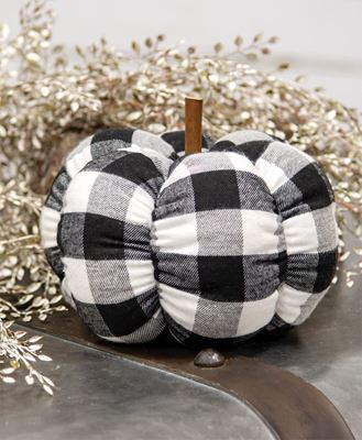 "Picture of Black & White Buffalo Check Stuffed Pumpkin, 6.5"""