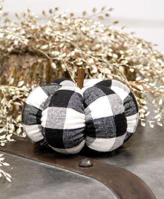 "Picture of Black & White Buffalo Check Stuffed Pumpkin, 5"""
