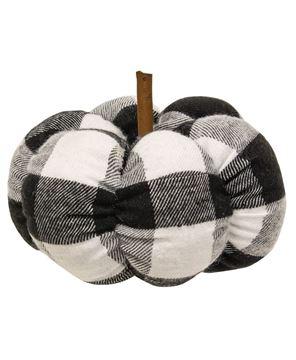 "Picture of Black & White Buffalo Check Stuffed Pumpkin, 4"""