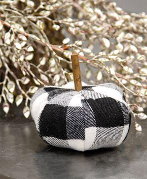 "Picture of Black & White Buffalo Check Stuffed Pumpkin, 3"""