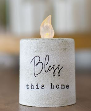 Picture of Bless This Home White Cement Timer Pillar