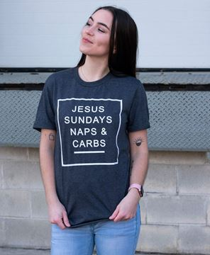 Picture of Jesus, Sundays, Naps, & Carbs, T- Shirt - Charcoal  Gray XXL