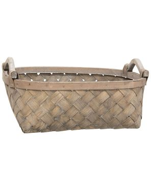 Picture of Greywashed Oval Baskets w/Wooden Handles, 3/Set