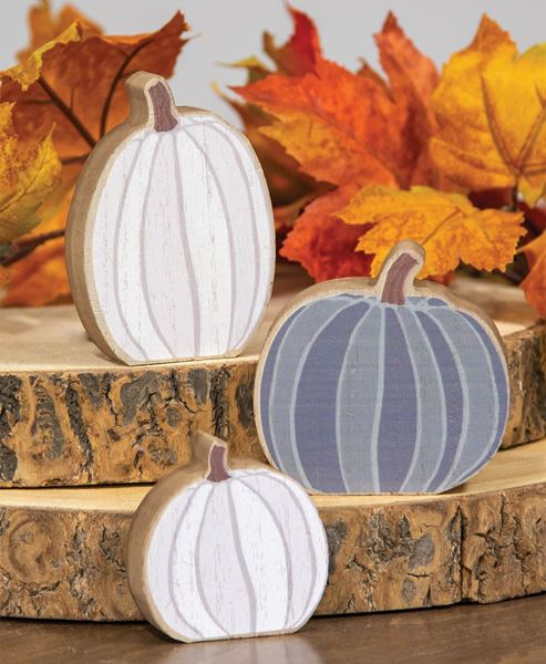 Picture of White & Gray Chunky Pumpkin Sitters, 3/set
