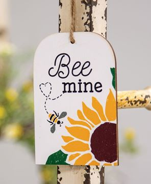 Picture of Bee Mine Sunflower & Bee Wooden Tag