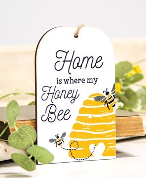 Picture of Home Is Where My Honey Bee Wooden Tag