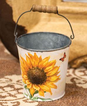 Picture of Sunflower & Butterfly Metal Bucket w/Handle