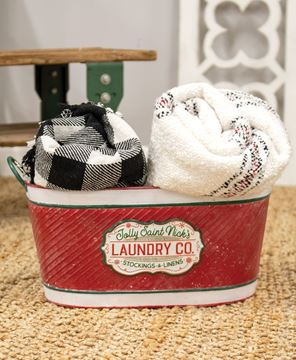 Picture of Jolly Saint Nick's Laundry Co. Oval Metal Bucket