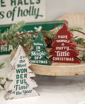 Picture of Wonderful Time of Year Distressed Wooden Trees, 3/Set
