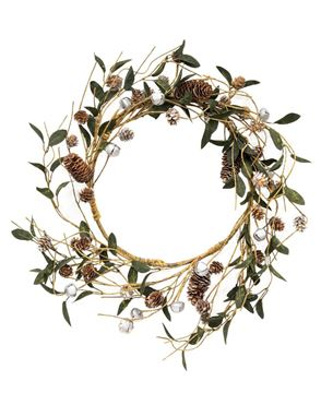 Picture of Silver Frosted Pinecone and Bell Wreath