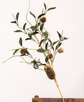 Picture of Silver Frosted Pinecone and Bell Spray