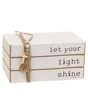 Picture of Let Your Light Shine Wooden Book Stack