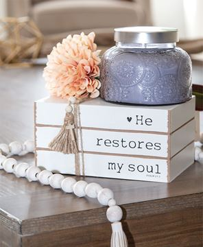 Picture of He Restores My Soul Wooden Book Stack