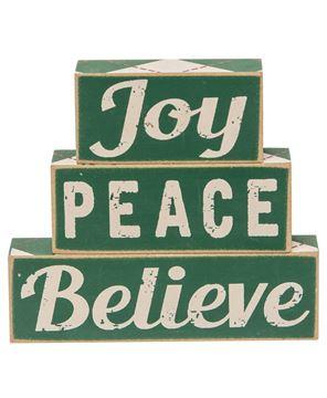 Picture of Plaid Joy Peace Believe Wooden Blocks, 3/Set