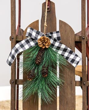 Picture of Hanging Pine Spray with Buffalo Check Bow
