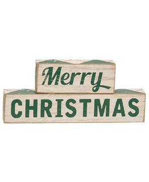 Picture of Plaid Merry Christmas Wooden Blocks, 2/Set