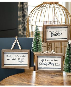 Picture of All I Want For Christmas Beaded Mini Pinstripe Sign, 3 Asstd.