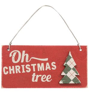 Picture of Plaid Christmas Tree Word Ornaments, 3/Set