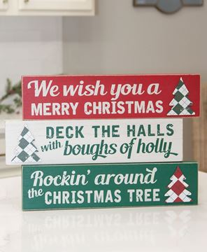 Picture of Plaid Christmas Tree Distressed Box Sign, 3 Asstd.