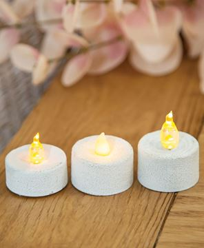 Picture of Textured White Mini Timer Tealight