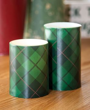 """Picture of Green Plaid Timer Pillar, 3"""" x 5"""""""