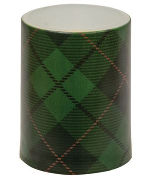 """Picture of Green Plaid Timer Pillar, 3"""" x 4"""""""