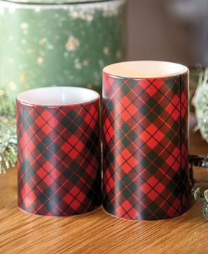 """Picture of Red Plaid Timer Pillar, 3"""" x 4"""""""