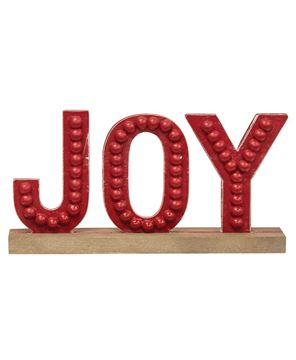 Picture of Distressed Beaded Wooden Joy Sign on Base