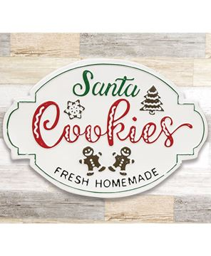 Picture of Santa Cookies Distressed Metal Sign