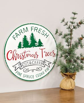 Picture of Farm Fresh Christmas Trees Distressed Round Metal Sign