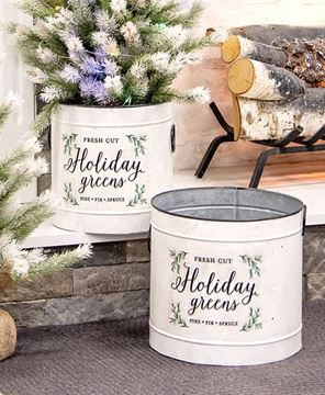 Picture of Holiday Greens Distressed Metal Pails, 2/Set