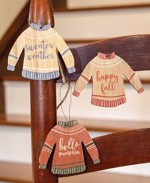 Picture of Fall Sweater Wooden Ornaments, 3/Set
