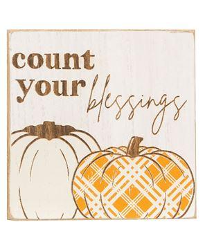 Picture of Give Thanks Plaid Pumpkin Block, 2 Asstd.