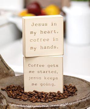 Picture of Coffee & Jesus Engraved Block, 2 Asstd.