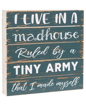 Picture of I Live In A Madhouse Wood Slat Box Sign