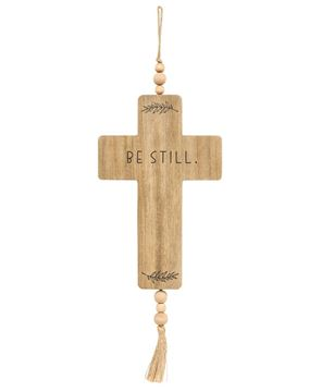 Picture of Be Still Cross Wood Ornament w/Beads & Tassel
