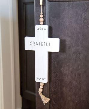Picture of Grateful Cross Wood Ornament w/Beads & Tassel