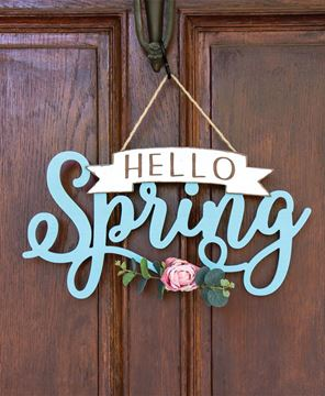 Picture of Hello Spring Banner Cutout Floral Accent Hanging Sign