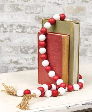 Picture of Beaded String Red White w/Jute Tassels
