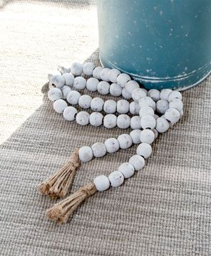 Picture of Distressed White Bead Garland w/Jute Tassels