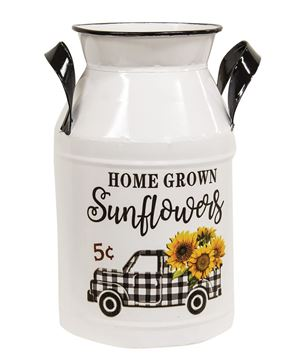 Picture of Home Grown Sunflowers White Metal Milk Can