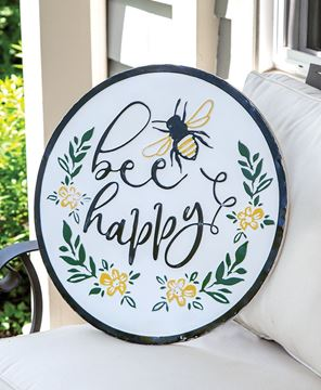 Picture of Bee Happy Distressed Enamel Sign