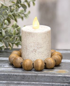 Picture of Wooden Round Bead Candle Ring