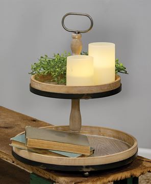 Picture of Distressed Wood and Metal Two-Tiered Tray