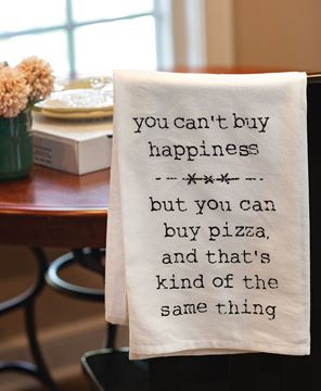 Picture of You Can't Buy Happiness Dish Towel