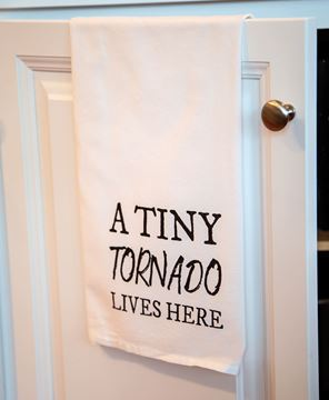 Picture of A Tiny Tornado Lives Here Dish Towel